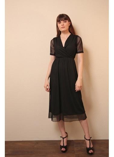 Reyon Puantiyeli Tül Detay şifon Elbise Mint Siyah